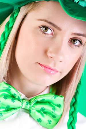 Saint Patrick day concept with young girl photo
