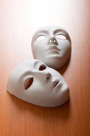 Theatre concept with the white plastic masks Stock Photo - 8209344