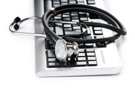 doctors tools: Stethoscope and keyboard illustrating concept of digital security