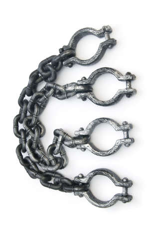 Metal shackles isolated on the white background Stock Photo - 8209285