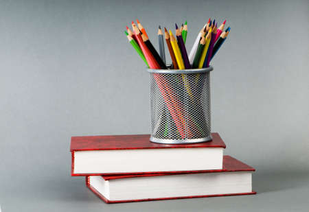 Back to school concept with books and pencils photo