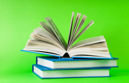 Stack of books on the color background Stock Photo - 8234186