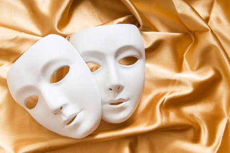 canvass: Theatre concept with the white plastic masks