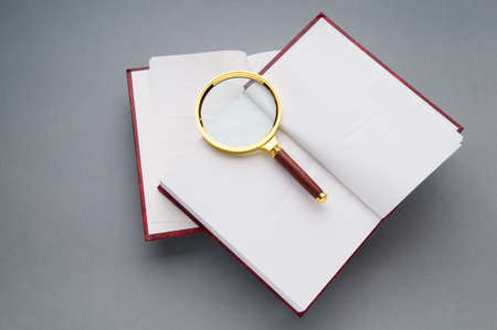Magnifying glass over the stack of books Stock Photo - 8281391
