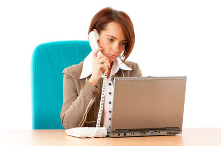 Young business woman working in the office Stock Photo - 8400409