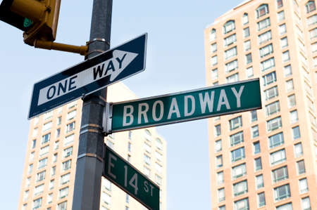 Famous broadway street signs in downtown New York photo