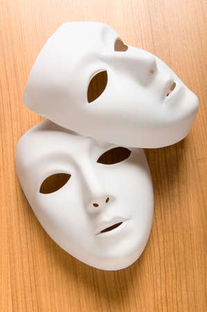drama masks: Theatre concept with the white plastic masks
