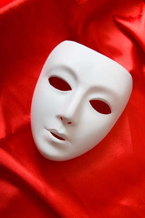 masquerade masks: Theatre concept with the white plastic masks