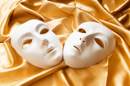 theatre symbol: Theatre concept with the white plastic masks