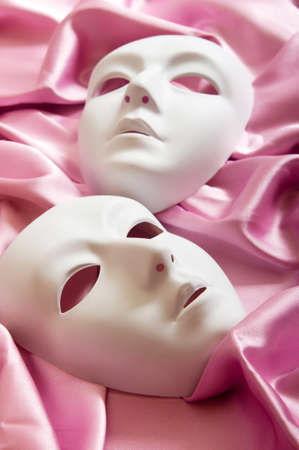comedy and tragedy: Theatre concept with the white plastic masks
