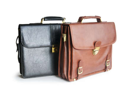 Two leather briefcases isolated on the white photo