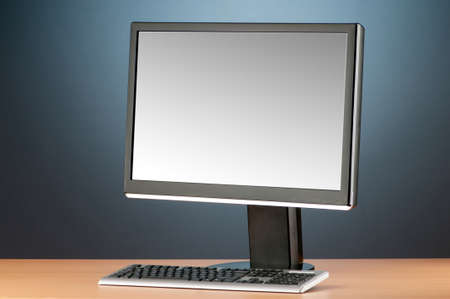 lcd display: Wide screen computer monitor against colorful background Stock Photo