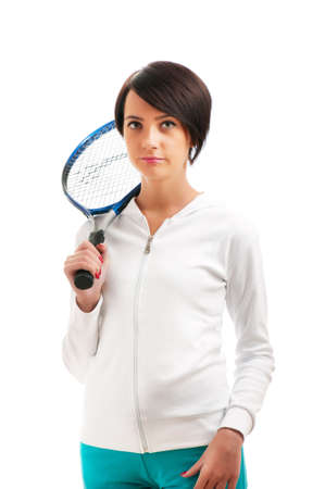 Young girl with tennis racket and bal isolated on white Stock Photo - 8475054