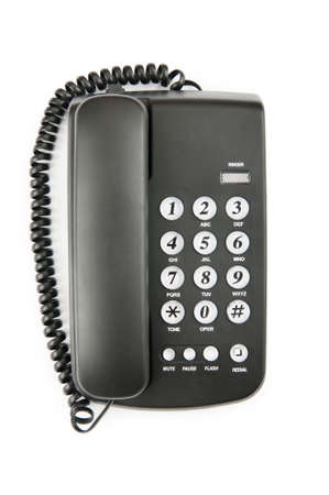 phone number: Black phone isolated on the white background Stock Photo