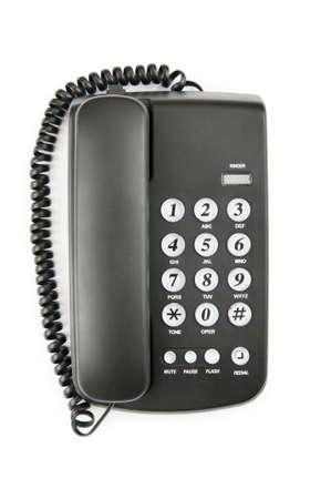 telephone: Tel�fono negro aislado en el fondo blanco