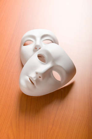 Theatre concept with the white plastic masks Stock Photo - 8616357