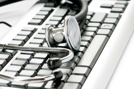 Stethoscope and keyboard illustrating concept of digital security Stock Photo - 8615188
