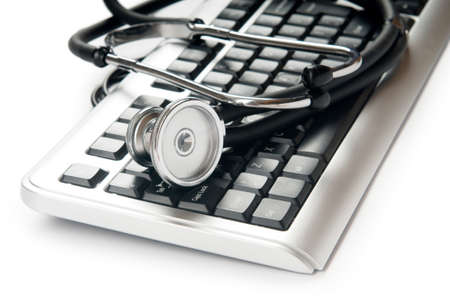 Stethoscope and keyboard illustrating concept of digital security  Stock Photo - 8615076