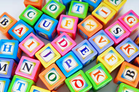 english word: Learning and education concept - pile of alphabet blocks