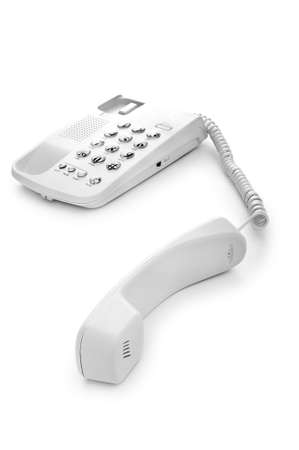 telephone cord: Office phone isolated on the white background