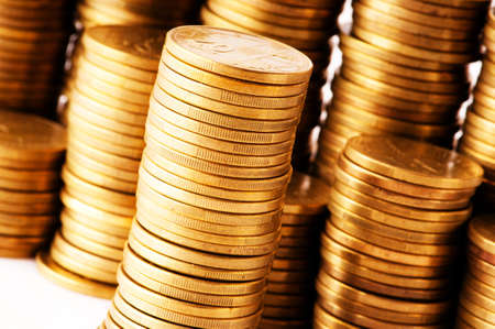 penny: Close up of the golden coin stacks