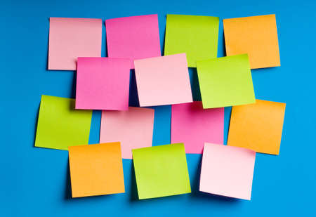 post it note: Reminder notes on the bright colorful paper