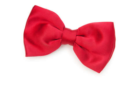 silk tie: Red bow tie isolated on the white