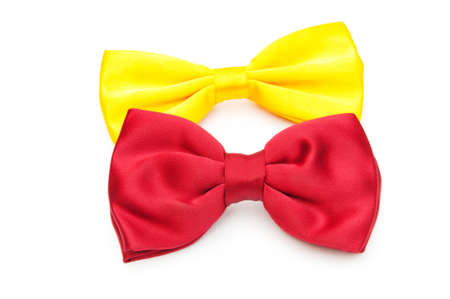 Red bow tie isolated on the white  photo