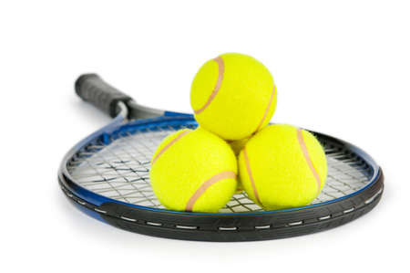 racquet: Tennis concept with the balls and racket Stock Photo