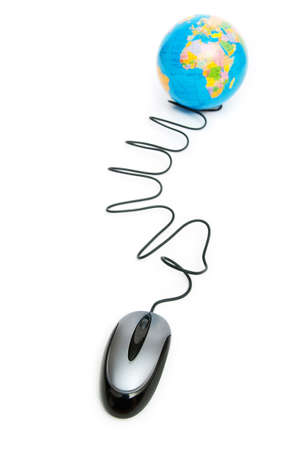 Computer mouse and globe - ruling the world photo