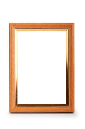 wooden box: Picture frame isolated on the white background Stock Photo
