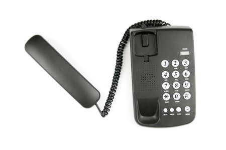 Black phone isolated on the white background photo