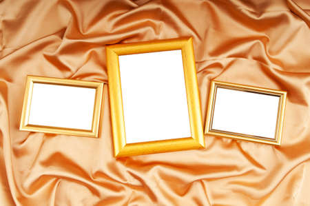 Picture frames on the color satin background Stock Photo - 8657209
