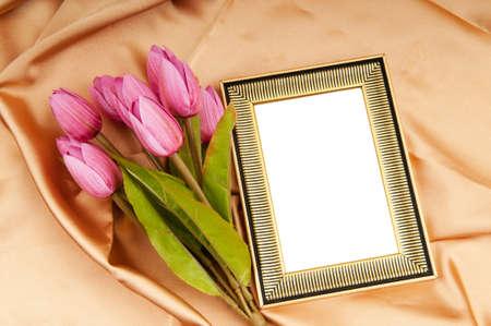 marco madera: Flores de tulipanes y marcos de imagen en sat�n Foto de archivo
