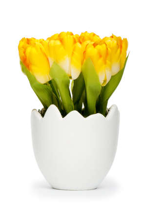 flower pots: Colorful tulip flowers in the white pot Stock Photo