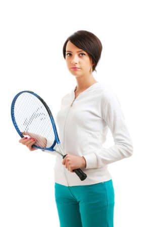 Young girl with tennis racket and bal isolated on white photo