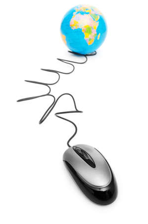 ruling: Computer mouse and globe - ruling the world Stock Photo