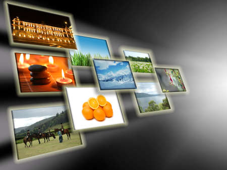 Abstract concept with collage of photos photo