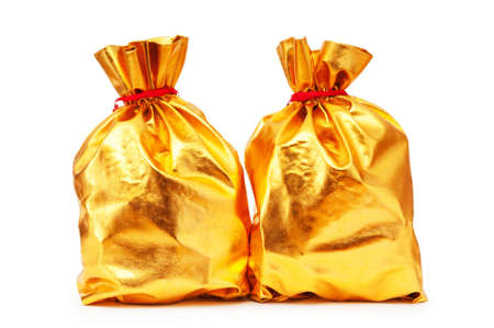 Golden sacks full of something good photo