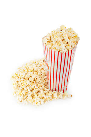 Popcorn bag isolated on the white background photo