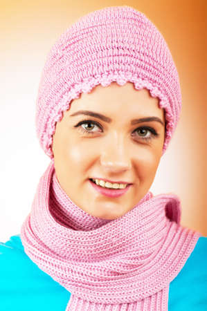 nice looking: Nice looking woman in the warm clothing