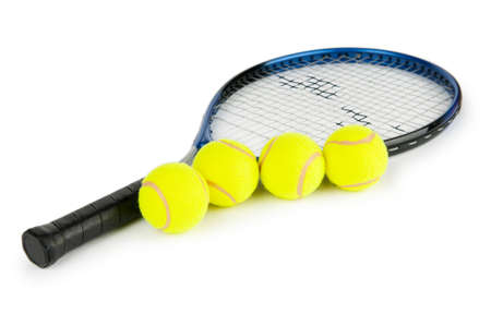 Tennis concept with the balls and racket Stock Photo