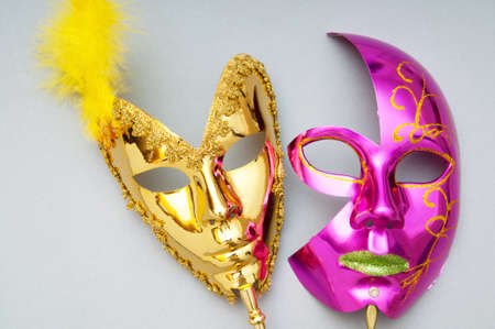 Ornate masks isolated on the white background photo