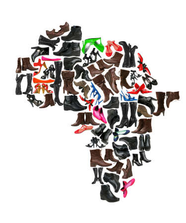 high heel shoes: Africa continent made of woman shoes