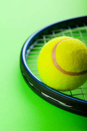 tennis racquet: Tennis concept with balls and racket Stock Photo