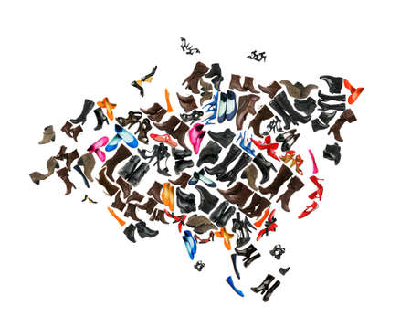 Eurasia continent made of woman shoes photo