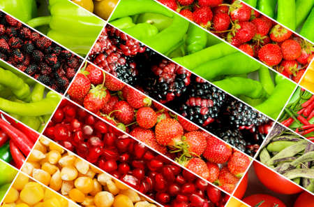 Collage of many different fruits and vegetables Stock Photo - 8745718