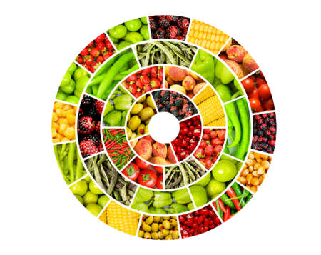 fruit and vegetables: Collage of many different fruits and vegetables