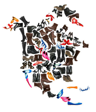 North America continent made of female shoes photo