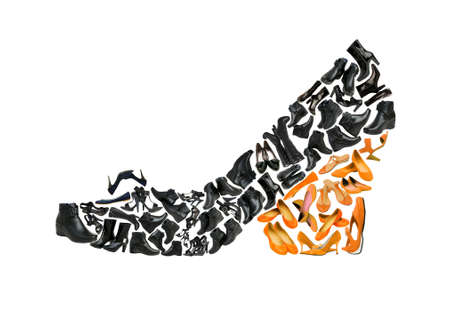 Woman shoe shape made from other shoes photo